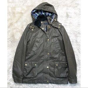 Zara Olive Waxy Utility Jacket